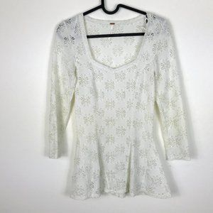 Free People Floral Lace 3/4 Sleeve Top XS Cream